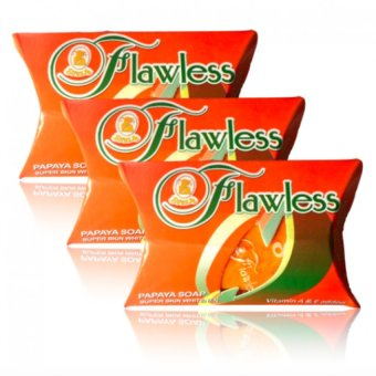 Flawless Papaya Super Whitening Soap 60g set of 3 with free rosylip therapy 7g Price Philippines