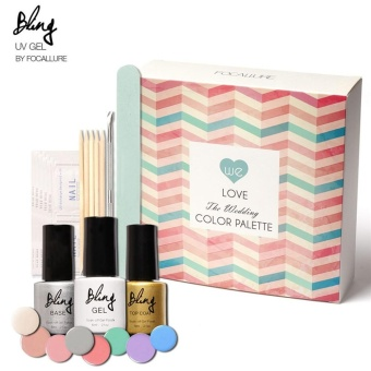 FOCALLURE Bling Nail Polish Set Soak-Off Long Lasting Nail Gel Kit Color Palette - intl