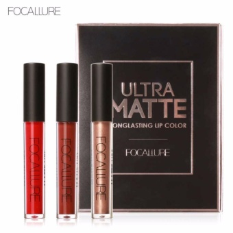 FOCALURE 3Pcs Long-lasting Lip Colors Makeup Waterproof Tint LipGloss Red Velvet Ultra Nude Matte Lipstick Colourful - intl