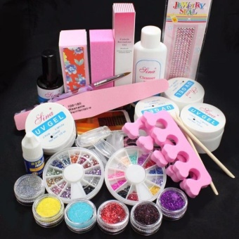 Full Acrylic Glitter Powder Glue File French Nail Art UV Gel Tips Kit Set - intl