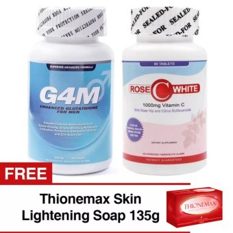 G4M Glutathione for Men and Rose  C White Vitamin   C Bundle with Free Thionemax Skin Lightening Soap 135g