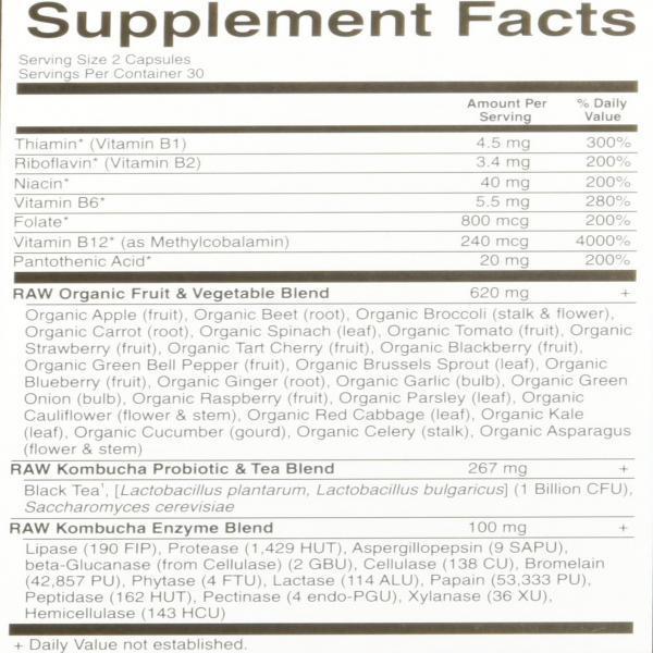 Garden of Life Kombucha - Vitamin Code Raw Dietary Supplement with Probiotics and B Complex Vegan