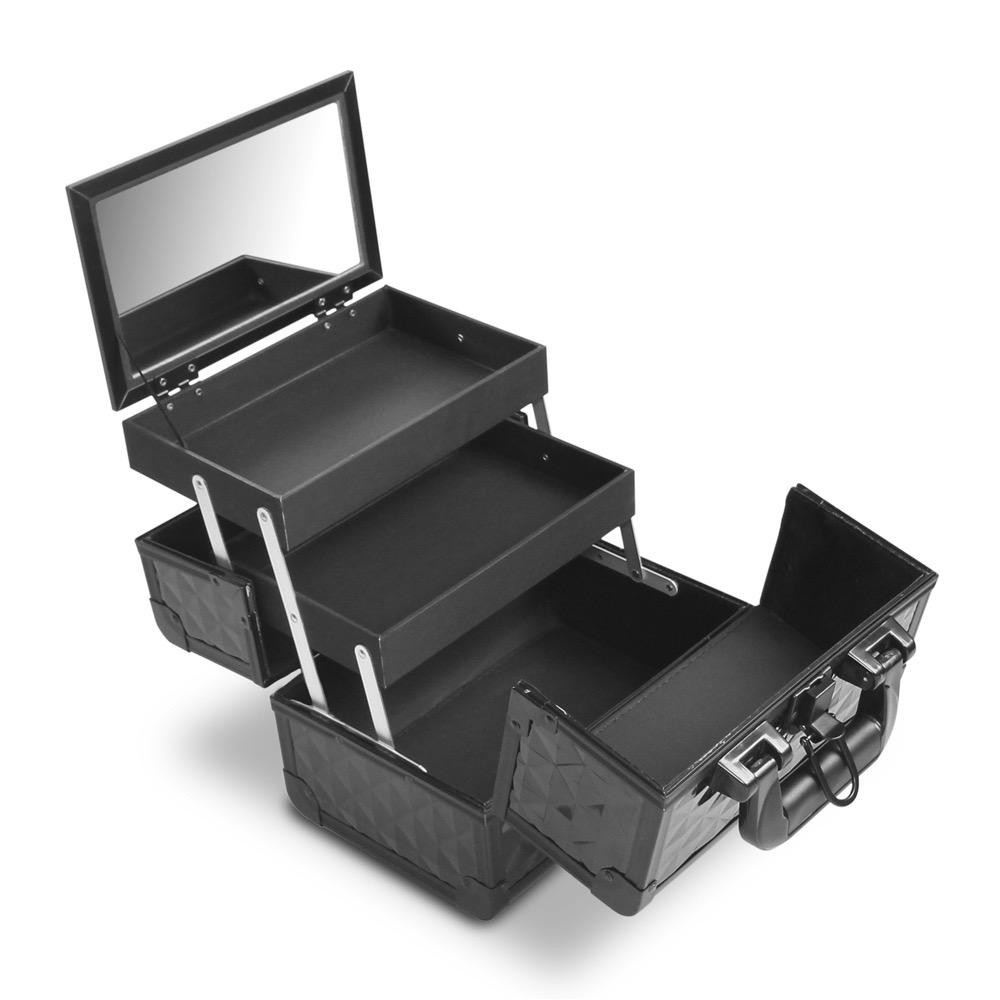 Gladking Philippines Portable Makeup Train Case Small Cosmetic Organizer  Box With Mirror And Trays Black Philippines