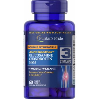 Glucosamine Chondroitin & MSM, Double Strength Joint Soother, 60 Coated Caplets