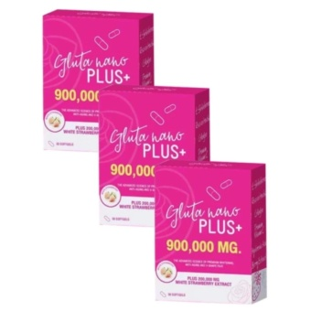 Gluta Nano Plus+ 900,000mg (30 Softgels) (New Advanced Formula) SETof 3 with FREE 1 Sachet of GLUTA LIPO Whitening and Slimming Juice