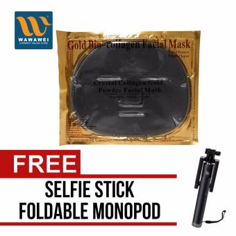 Gold Bio-Collagen Facial Mask Crystal Collagen Gold Powder (Black)with free Selfie Stick Integrated Foldable Smart Shooting AidMonopod Apple iPhone/All Smartphone (Color May Vary)