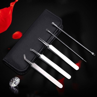 GOOD 5PCS/set Blackhead Blemish Acne Pimple Extractor Remover Tool Face Skin Care Black - intl
