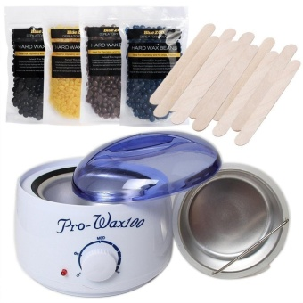 Hair Removal Hot Waxing Kit Electric Wax Warmer Mechine+Hard WaxBeans 100g+Wax Applicator Sticks 10PCS - intl