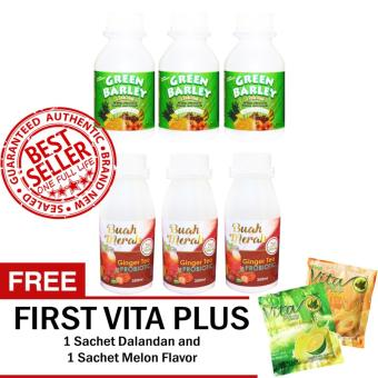 Health and Wealth Green Barley Sets of 3 and 7 in 1 Buah Merah Sets with Ginger Tea + Probiotic of 3 with FREE 2 Sachets First Vita Plus