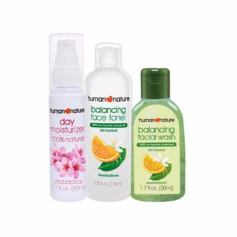 Human Nature Balancing Face Toner 100ml, Balancing Facial Wash50ml, Day Moisturizer 50ml- ShineFree Facial Care Set