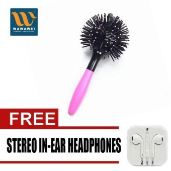 Harga Wawawei Bomb CURL Brush 3D LB-1500 (Pink) with free Stereo In-Ear Headphone (White)
