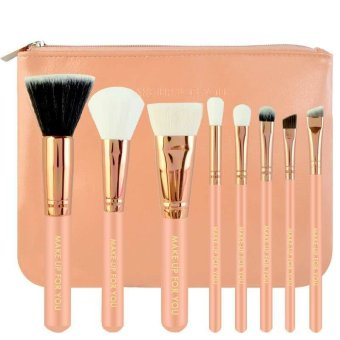 Harga Make-Up For You 8pcs Brush with Cosmetic Make Up Bag (Pink)