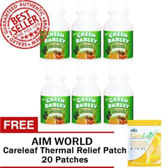 Harga HWIC Health and Wealth Green Barley Bottles of 6 with FREE Aim Global Careleaf Thermal Relief Pack 20 Patches