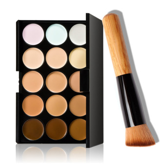 Harga 15 Colors Cream Makeup Concealer Palette + Water Sponge Puff Powder Brush