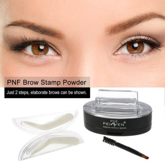 Harga PNF Brow Stamp Powder Eye Brow Enhancer Straight United Brow With Brush Mirror 2 Pairs Stamps 2# Dark Grey - intl