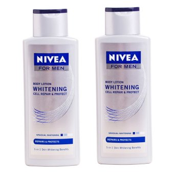 Harga Nivea For Men Whitening Cell Repair & Protect Body Lotion 250ml, Pack of 2
