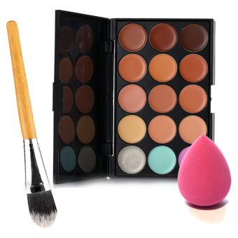 Harga 15 Colors Face Cream Makeup Concealer Palette Sponge Puff Powder Brush Set