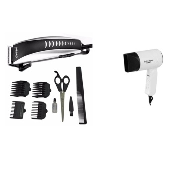 Harga Gemei 1001 Hair Clipper Trimmer 9-piece Set. Professional With Fc-9808 hair dryer