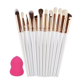 Harga 12pcs Makeup Eyeshadow Eyeliner Brush Set + 1 Powder Sponge Puff (White) - intl