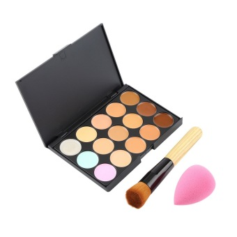Harga OH 15 Colors Contour Face Cream Makeup Concealer Palette+Sponge Puff+Powder Brush