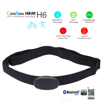 Harga CooSpo H6 ANT Bluetooth V4.0 Wireless Sport Heart Rate Monitor Smart Sensor Chest Strap for 4S 5 5S 5C 6 6Plus iPad Wahoo Fitness Fitcare - intl