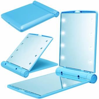 8 LED Vanity Mirror Compact Portable Cosmetic Mini Makeup Mirror (Sky Blue) Price Philippines