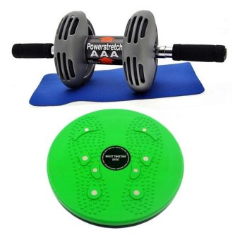Harga Power Stretch Roller Total Body Exerciser (Black) With Waist Twisting Disc Healthy Massager (Green)