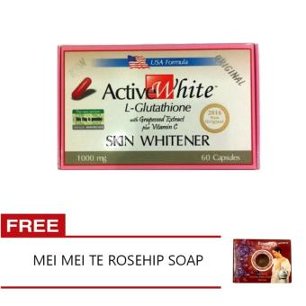 Harga Active White L-Glutathione Skin Whitener with FREE Mei Mei Te Rose Oil Soap