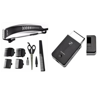Harga Gemei 1001 Hair Clipper Trimmer 9-piece Set. Professional With Shengfa RSCW-2055 Rechargeable Shaver