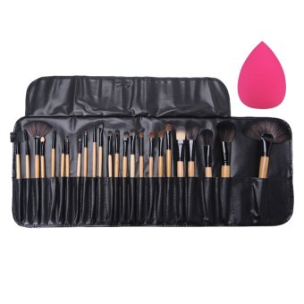 Harga 24Pcs Pro Makeup Brushes Eyeshadow Powder Brush Set Case+Big Sponge Puff (Intl)