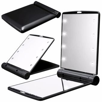 8 LED Vanity Mirror Compact Portable Cosmetic Mini Makeup Mirror (Black) Price Philippines