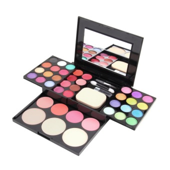 Harga Make Up Palette Set Eyeshadow Lip Gloss Foundation Powder Blusher Puff Tool
