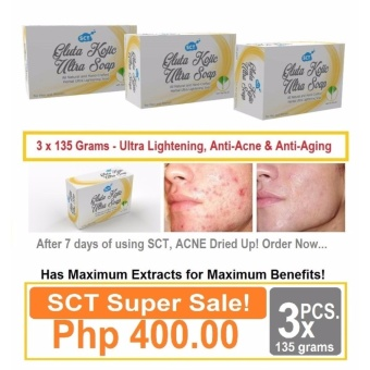 3 Pieces SCT Gluta Kojic Ultra Skin Lightening Soap for Men and Women Price Philippines