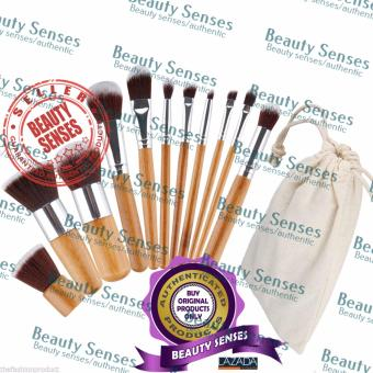 11 Pieces Bamboo Handle Makeup Brush With Pouch Bag Price Philippines