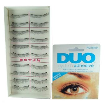 Natural Black Long False Eyelashes (10 Pairs) with Duo Eyelash Adhesive Price Philippines