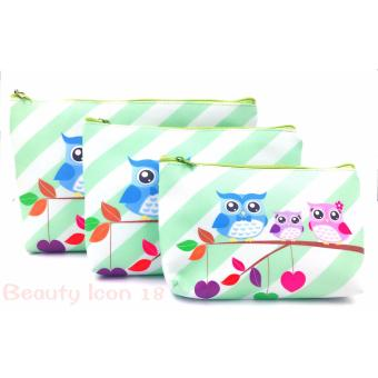 Owl Cosmetic Travel Make Up  Pouch Light Set Of 3 (Light Green) Price Philippines