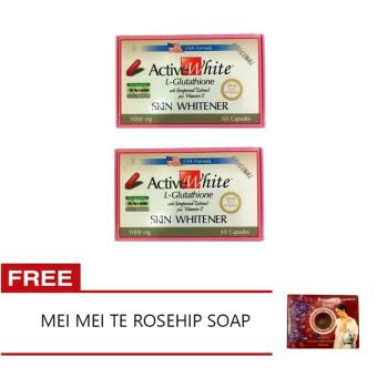 Harga 2 Active White L-Glutathione Skin Whitener 1000mg, 60 Capsules with FREE Mei Mei Te Rose Oil Soap