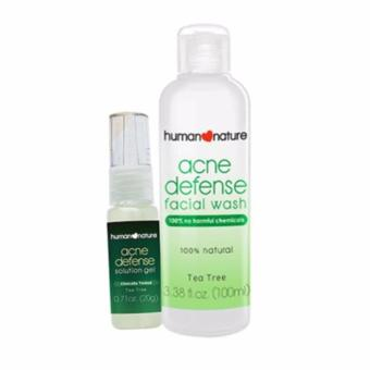 Harga Human Nature Acne Fighting Duo, Defense Facial Wash 100ml and Acne Defense Solution Gel 20g Facial Acne Defense Set
