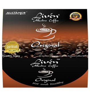 Harga Alliance Global Liven Alkaline Coffee Original, Box of 20