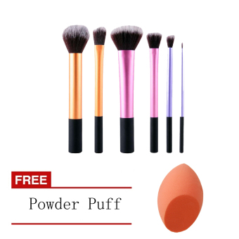 Harga 6 pcs Pro Techniques Powder Makeup Blush Brushes+Free Powder Puff[Buy 1 Get 1 Free]