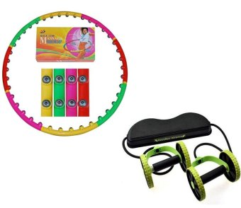 Harga Fitness Exercise Magnetic Massage Weighted Hula Hoop (Multicolor) With Revoflex Xtreme Muscle Toning Kit
