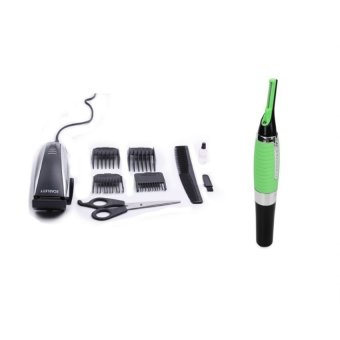 Harga Scarlet SC164 Hair Clipper with Micro Touch Max All-in-One Personal Trimmer (Silver/Green)