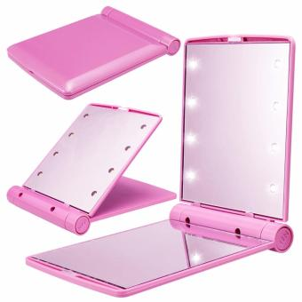8 LED Vanity Mirror Compact Portable Cosmetic Mini Makeup Mirror (Pink) Price Philippines