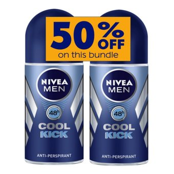 Harga Nivea Cool Kick Roll On Deodorant for Men 50ml Set of 2