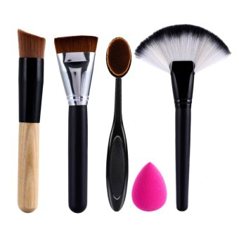 Harga 2 x Makeup Brush+Powder Blush Foundation Brush+Sponge Puff + contour brush