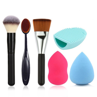 Harga 6 Pcs Makeup Cosmetic Tools Set Foundation Powder Blush Brush Sponge Powder Puff Brush Cleaning Pad