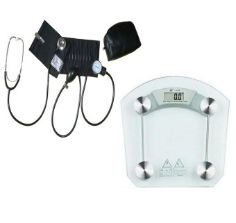Harga Medi Aneroid Sphygmomanometer (Black) with Stethoscope Blood Pressure Monitor With Digital Glass Bathroom Person Weighing Scale