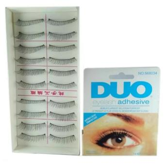 Taiwan Natural Black Long False Eyelashes (10 Pairs) with Duo Eyelash Adhesive Price Philippines