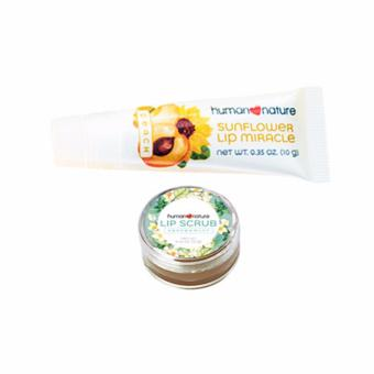 Harga Human Nature Sunflower Lip Miracle Peach 10g and Lip Scrub Peppermint 12g- Lip Care Set