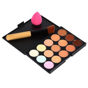 Harga 15Colors Concealer & Oblique Head Brush Powder Puff Contour Palette Make Up Tool Set (Black) - intl